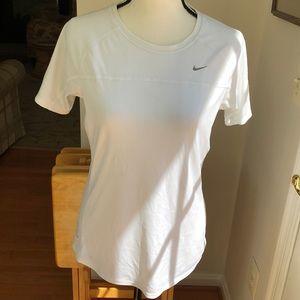 Nike women's white Dri-fit runners gear/T-Shirt.